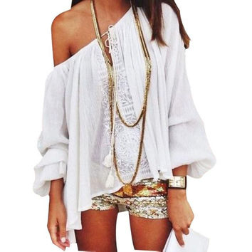 Essential 2016 NEW Fashion Sexy Women 1 pc Shoulder Blouse Tops Casual Lace Crochet Chiffon Shirt