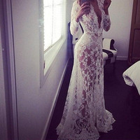HOT LACE LONG SEE THROUGH DRESS