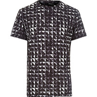 River Island MensBlack Jaded stud printed t-shirt