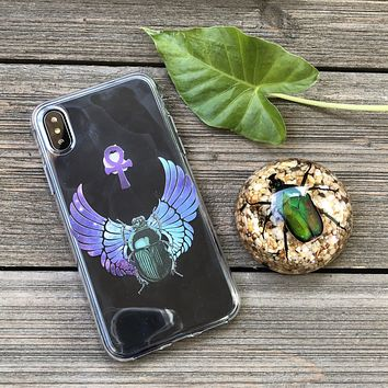 Cosmic Scarab Beetle and Egyptian Ankh iPhone Case