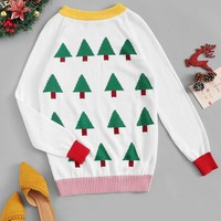 Christmas Tree Print Sweater