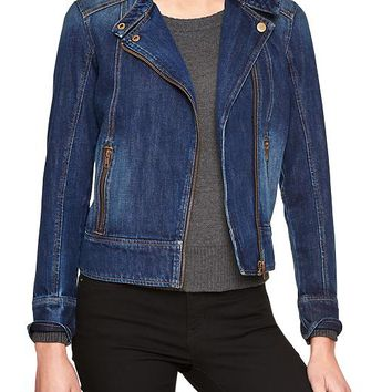 Gap Women Factory Denim Moto Jacket