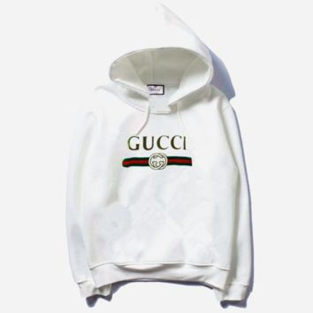 b4db9906e62 Gucci Fashion Long Sleeve Hooded Print Embroider Casual Sweater