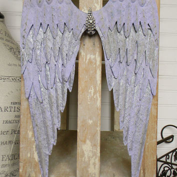 Angel Wing Wall Decor, Purple Angel Wings, Light Purple Angel Wings, Vintage Inspired Angel Wings, Metal Angel Wings, Shabby Chic Wall Decor
