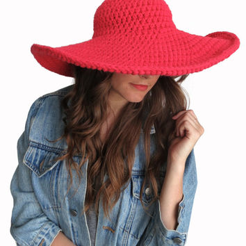 Crochet Floppy Hat Sun Wide Brim Derby Summer Beach Hat // Lola Sun Hat in Poppy // Many Colors Available