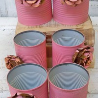Set of 6 pink decorative cans adorned with metal rusty roses- a recycled earth friendly product by Anita Spero Design