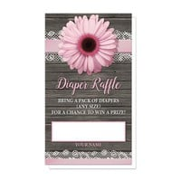 Pink Daisy Lace Rustic Wood Diaper Raffle Cards