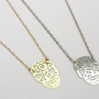 Skull Pendant Chain Necklaces in Gold and Silver by galisfly