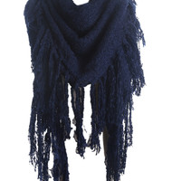 Navy Fringed Scarf