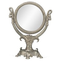 "One Kings Lane - Your Dressing Room - 16"" Round Mirror w/ Stand, Pewter"
