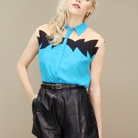 Sleeveless southwestern top in teal, black and peach, button-front | shopcuffs.com