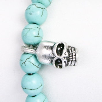 Semi Precious Stone Beads w/ Metal Skull Pave Ball in Turquoise