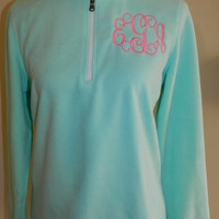Monogrammed 1/4 Zip Fleece Pullovers in Mint Green Ladies Medium