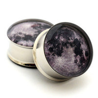 Moon Picture Plugs gauges  2g 0g 00g 7/16 by mysticmetalsorganics