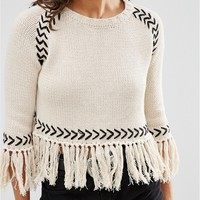 Glamorous Petite Jumper With Contrast Knit Detail And Tassel Hem