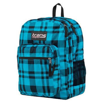 "Trans By JanSport 17"" SuperMax Backpack Blue Plaid"
