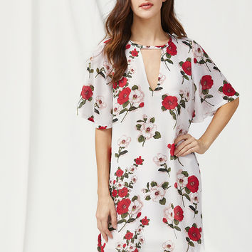 White Floral Print V Cut-Out Flare Sleeve Dress
