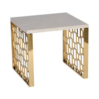 Armen Living Skyline End Table With White Top, Gold Metal Base