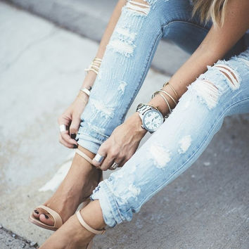 Stylish Ladies Casual Ripped Holes Slim Jeans [9753177039]