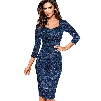 Vfemage Womens Sexy Elegant Lace 3/4 Sleeve Pinup Tunic Slim Casual Work Office Party Fitted Sheath Bodycon Pencil Dress 8673
