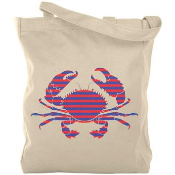 LMFCY8 Summer Sun Striped Crab Nautical Canvas Tote Bag