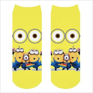 woman cartoon minions pattern tube funny novelty socks digital 3d print harajuku low cut ankle calcetines mujer despicable cute