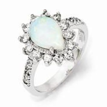 Sterling Silver CZ Synthetic Opal Pear Shaped Ring