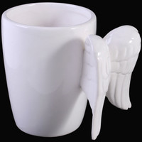 White Or Black Guardian Angel Cherub Wing Ceramic Coffee Mug