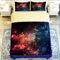 Hipster Galaxy 3D Bedding Set Universe Outer Space Themed Galaxy Print Nebula Aurora Duvet cover shooting Twin queen king #2