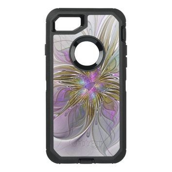 Floral abstract and colorful Fractal Art OtterBox Defender iPhone 7 Case