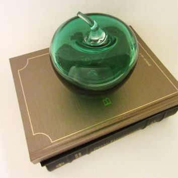 Blenko Green Blown Glass Apple Stemmed Paperweight