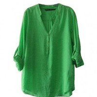 Cotton & Linen Green Shirt with V Neckline