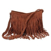 THG Fringe Brown Tassel Faux Suede Messenger Cross Body Tote Shoulder Handbags