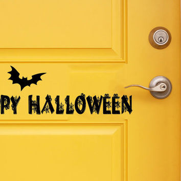 Halloween Wall Decal Holiday Stikers Happy Halloween Bats Vinyl Letters Door Decor Living Room Art Mural Home Interior Design KY27