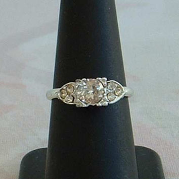 Adjustable CZ Engagement Ring Fantastic Sparkle Wedding Vintage Jewelry