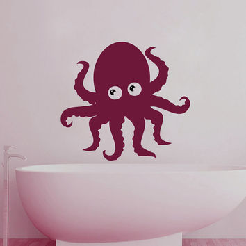 Wall Decals Octopus Decal Vinyl Sticker Bathroom Kitchen Window Baby Children Nursery Bedroom Home Decor Interior Art Murals MN487