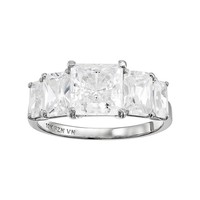 Cubic Zirconia 10k White Gold 5-Stone Ring