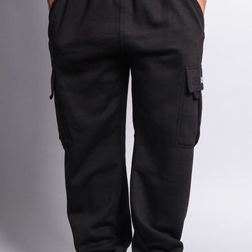Men's Solid Fleece Cargo Pants DFP2