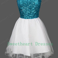Charming Sweetheart blue/white sequined prom dresses/homecoming dress