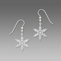 Sienna Sky Earrings - Large Imitation Rhodium Snowflake with Crystals