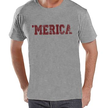 Men's 4th of July Shirt - Red 'Merica - Grey T-shirt - Patriotic Merica 4th of July Party Shirt - Men's Independence Day Patriotic Tank Top