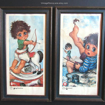 2 Vintage Harlequin Big Eyed Boy Prints / Wall Art Placques by Michel T, Cancer / Sagittarius