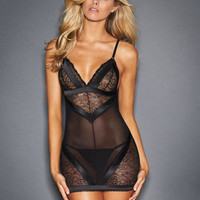 Lila Lace And Satin Chemise