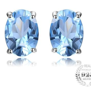 Oval 1.9ct Natural Sky Blue Topaz Birthstone Stud Earrings Solid 925 Sterling Silver