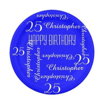 Royal Blue 25th Birthday Party Repeating Names Paper Plate