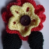Flower corsage brooch. Hand knitted.Salmon and yellow. OOAK!