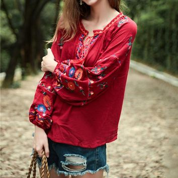 Fashion Summer sexy blouse Red shirts women 2019 Cotton linen embroidered blouse shirt women Long sleeve blouse top female