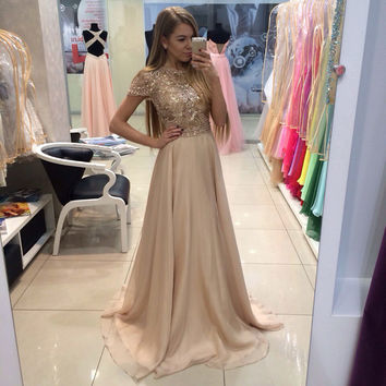 2016 New Arrival Long Gold Prom Dresses With Hand Beading Chiffon A-Line Cap Sleeves Vestido De Festa For Party Formal Gowns