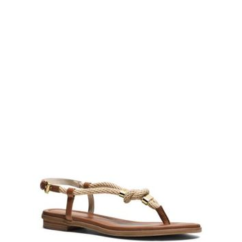 Holly Rope-Trim Leather Sandal | Michael Kors