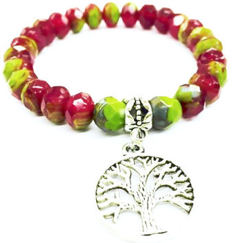 Tree Of Life Charm Crystal Bracelet